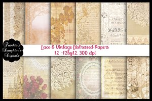 Lace & Vintage Distressed Papers