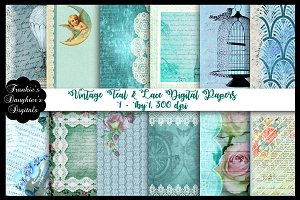 Vintage Teal & Lace Digital Papers