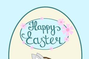 Happy Easter rubbit in basket