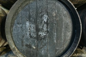 Close-up of old barrel for