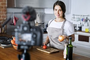Female vlogger cooking related