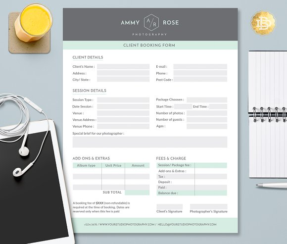 Client Booking Form Template CBF002