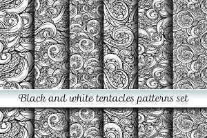 6 tentacles seamless patterns set