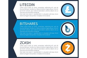 Blue Litecoin, White Bitshares and Orange Zcash
