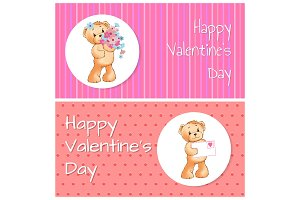 Happy Valentines Day Bear Set Vector Illustration