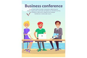 Business Conference at Seaside Vector Illustration