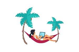 Lying on Hammack Businesswoman Vector Illustration