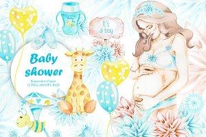 Baby Shower, Watercolor, It is a boy