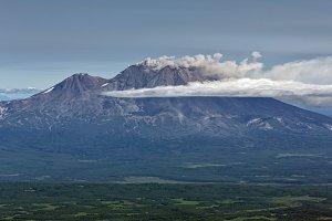 Landscape of eruption active volcano
