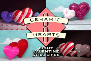 8 Ceramic Heart Still Lifes