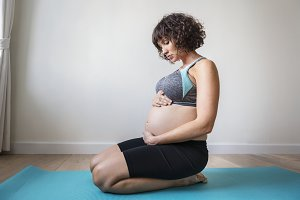 Pregnant woman doing light exercise