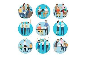 People at Work Start Up Set Vector Illustration