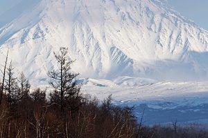 Winter scenery volcanic landscape