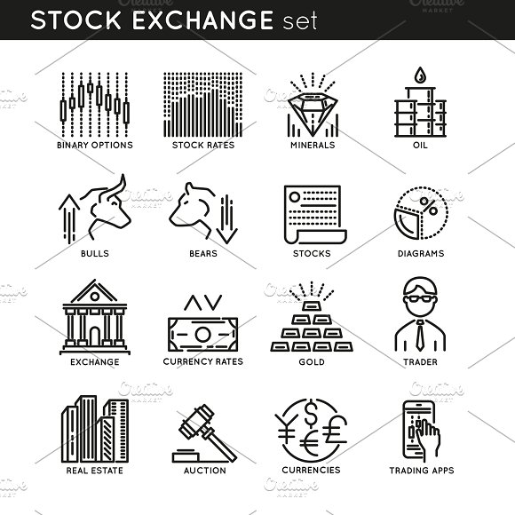 Stock Exchange Linear Icons