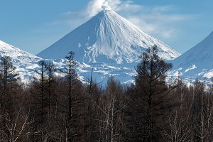Winter scenery volcano landscape
