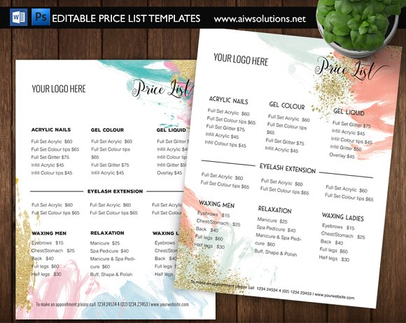 service pricing list id02 stationery templates creative market