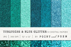 Turquoise Blue Glitter Texture Pack