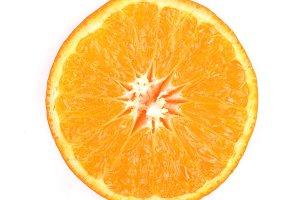 Slice of orange tangerne or mandarin isolated on white background