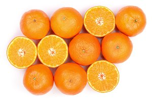Mandarin, tangerine citrus fruit isolated on white background. Top view. Flat lay