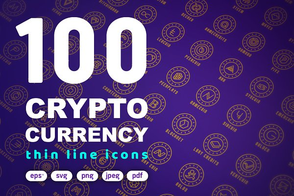 Icons: Blogoodf - 100 Crypto Currency Thin Line Icons