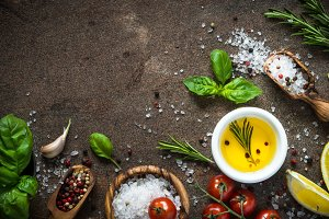 Food background with cooking ingredients top view.