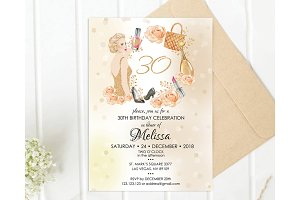30th birthday invitation for Woman