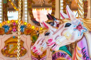 Horses on a fun fair carousel