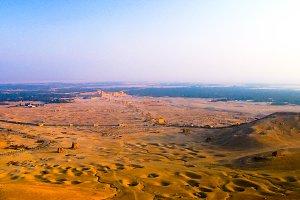 Aerial Panorama of Palmyra columns a