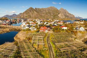 Henningsvaer fishing village on Lofoten islands from above