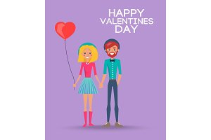 Girl with Balloon and Boy on Happy Valentines Day