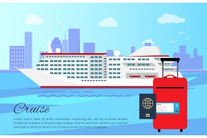Cruise Ship and Luggage Poster Vector Illustration