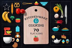 Cooking & Backing 70 flat icons