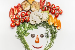 Funny face made of  vegetables