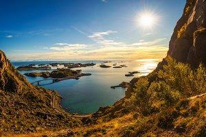 View from mount Festvagtinden above the village of Henningsvaer, Norway