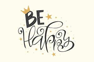Be happy lettering stars confetti
