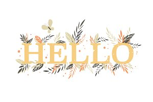 Yellow printed word Hello Spring