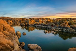 Sunset above Watson Lake in Prescott, Arizona