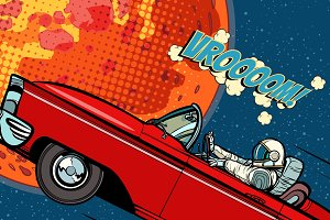 Astronaut in a car over the planet Mars