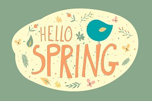 Green postcard with Hello Spring