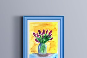 Watercolor spring bouquet