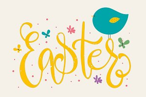 Ornamental word Easter with bird