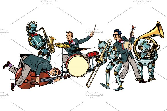 Futuristic Jazz Orchestra Of Humans And Robots Isolated On Whit