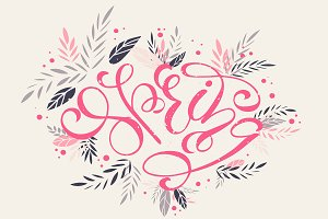 Spring in pink creative lettering