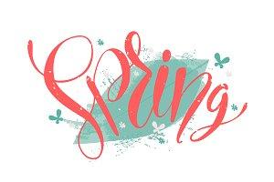 Red spring word on leaf