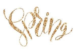 Golden glittering lettering Spring