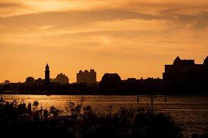 Urban warm sunset