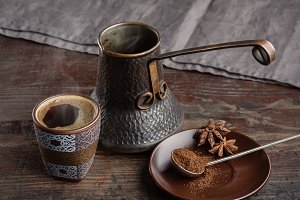 Ancient turk and coffee with spices.