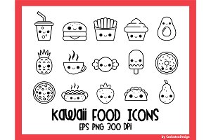 Kawaii food icons