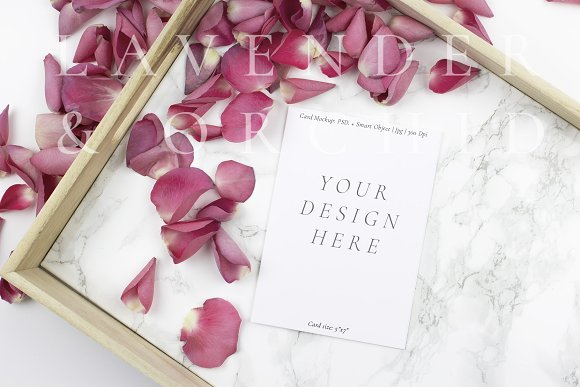 5x7 Card mockup on marble background