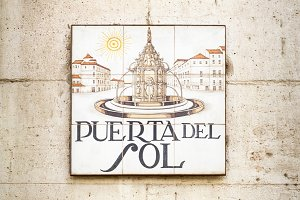 Puerta del Sol sign in Madrid